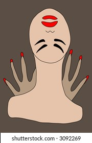 """""""No tengo nada""""?3. Abstract. A head of a bald woman. Hands with long red nails. A black ring on a thumb. Grey background, beige objects, red details, black lines."""