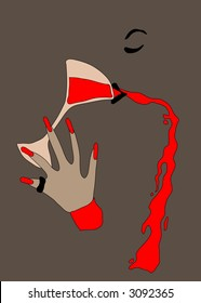 """""""No tengo nada""""?9. Abstract. An image of a drinking woman. A glass of wine. Hand with long red nails. A black ring on a thumb. Grey background, beige objects, red details, black lines."""
