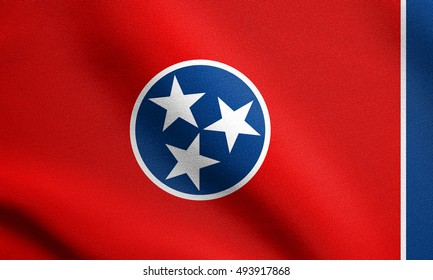 Tennessean official flag, symbol. American patriotic element. USA banner. United States of America background. Flag of the US state of Tennessee waving in the wind with detailed fabric texture