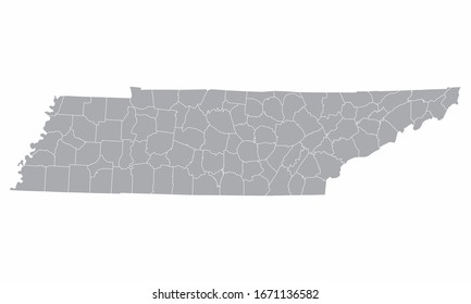 The Tennessee counties map isolated on white background