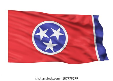 Tennessee flag flying high in the sky.