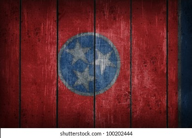 tennessee flag on old wooden wound