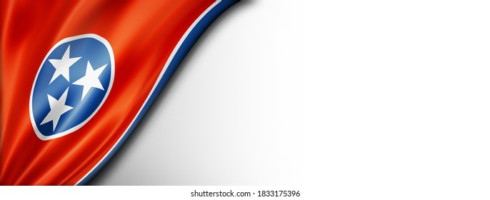 Tennessee flag on white wall banner, USA. 3D illustration