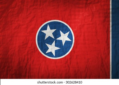 Tennessee flag painted on a Fabric creases,retro vintage style