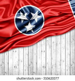 Tennessee  flag of silk with copyspace for your text or images and wood background