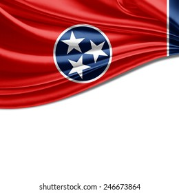 Tennessee flag and white background