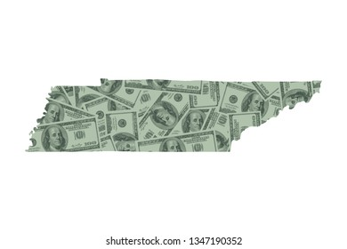 Tennessee State Map and Money Concept, Hundred Dollar Bills