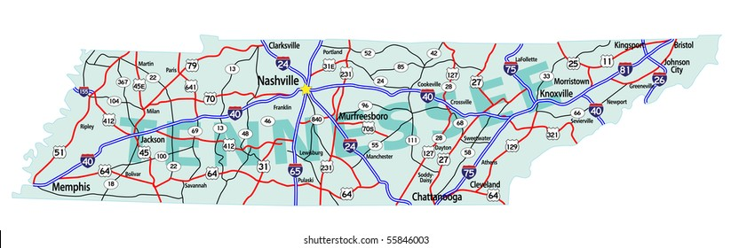 Tennessee State Road Map Interstates US Stock Vector (Royalty Free ...