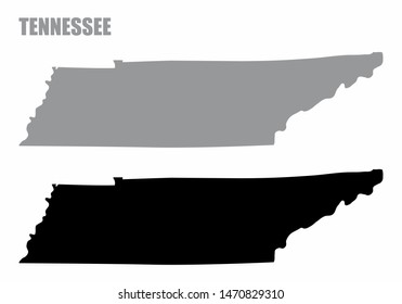 Tennessee State silhouette maps isolated on white background