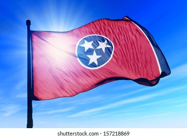 Tennessee (USA) flag waving on the wind