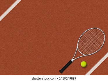 Tennis, Tennis Ball, Backgrounds. 3d render - Illustration