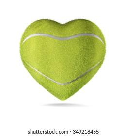 Tennis ball heart / 3D render of heart shaped tennis ball