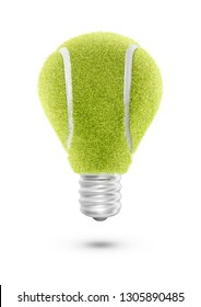 Tennis ball light bulb / 3D illustration of light bulb shaped tennis ball isolated on white background