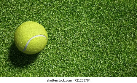 Tennis ball on fake grass texture background.Put your logo.3d rendering.Ready for your design.