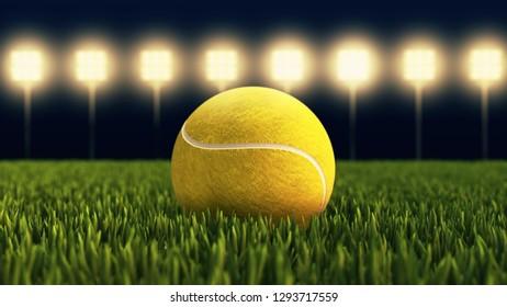 Tennis ball on tennis grass court close up 3D illustration