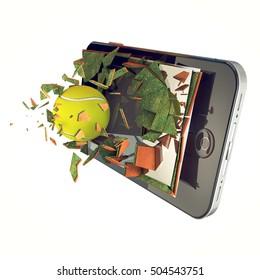 Tennis ball on smart phone. Broken glass mobile phone with tennis ball.