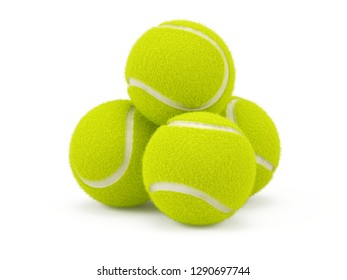 Tennis balls isolated on white - 3d rendering