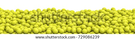 Tennis balls pile panorama / 3D illustration of panoramic view of hundreds of tennis balls