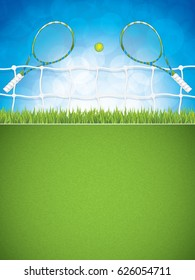 Tennis brochure with racket and ball.(without text)