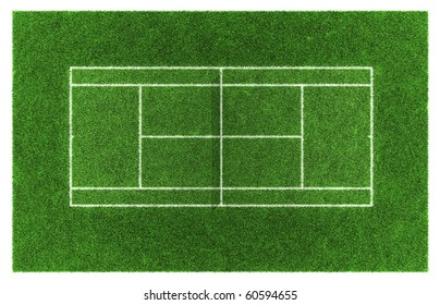 Tennis court. Grass. 3d illustration.