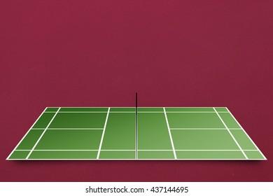 Tennis field plan against red background
