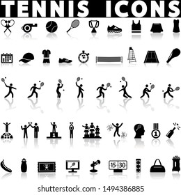 Tennis icons set on a white background with shadow
