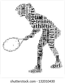 Tennis player info-text graphic and arrangement concept on white background (word cloud)
