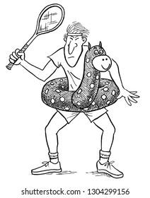 Tennis player wearing pool float toy