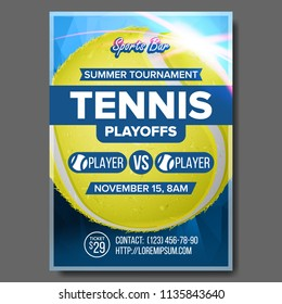 Tennis Poster. Sports Bar Event Announcement. Vertical Banner Advertising. Court. Professional League. A4 Size. Event Label, Flyer Blank Illustration