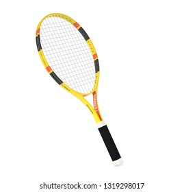 Tennis racket. 3d rendering illustration isolated on white background