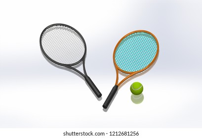 Tennis racket and ball 3D graphic on white HD background