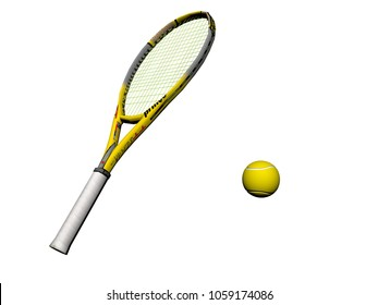 tennis racket yellow equipment icon illustration design - 3d rendering