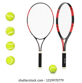 Tennis rackets with yellow balls. 3d rendering illustration isolated on white background