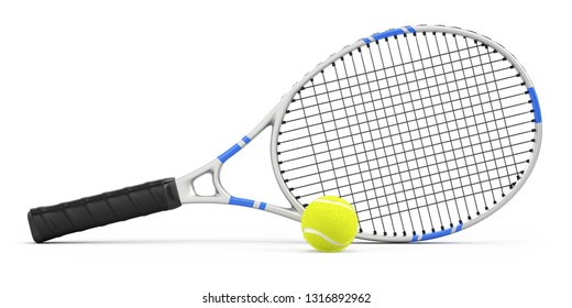 Tennis racquet and tennis ball isolated on white. 3d rendering