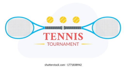 Tennis tournament logo or badge with two rackets and tennis balls.