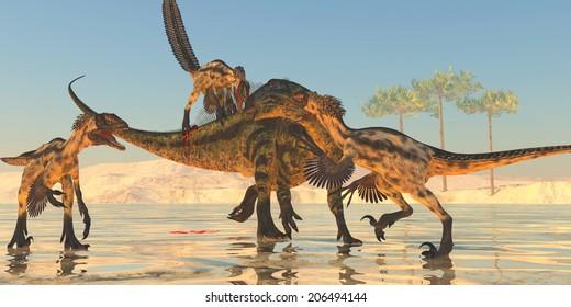 Tenontosaurus Attack - A pack of Deinonychus dinosaurs attack a Tenontosaurus during the Cretaceous Period of North America.