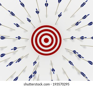 Tens of arrows that have missed the target