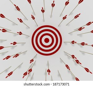 Tens of arrows that have missing  the target