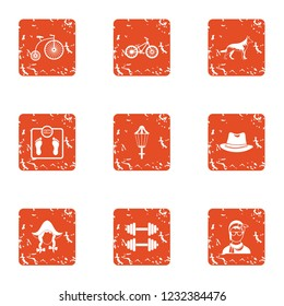 Tense situation icons set. Grunge set of 9 tense situation icons for web isolated on white background