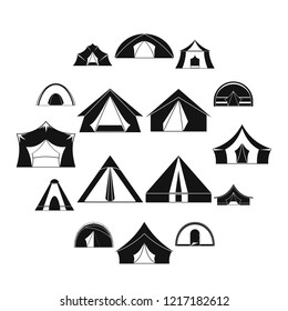 Tent forms icons set. Simple illustration of 16 tent forms icons for web