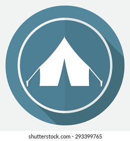 Tent icon on white circle with a long shadow