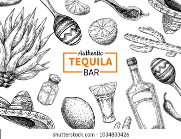 Tequila bar label. Mexican alcohol drink drawing. Bottle, shotglass, salt shaker, lime, agave frame sketch. Engraved illustration for restaurant menu, brochure, template.