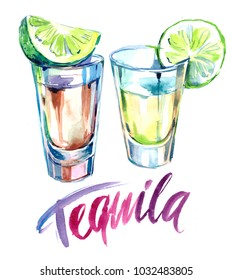 Tequila shot with lime. Watercolor illustration