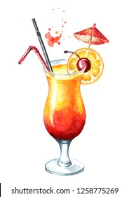 Tequila sunrise cocktail with cherry and orange decoration. Watercolor hand drawn illustration,  isolated on white background