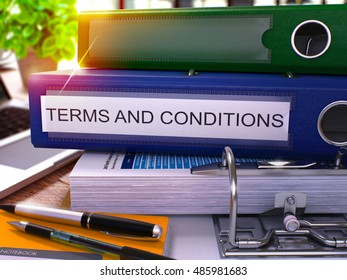 Terms and Conditions - Blue Office Folder on Background of Working Table with Stationery and Laptop. Terms and Conditions Business Concept on Blurred Background. Terms and Conditions Toned Image. 3D.
