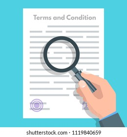 Terms And Conditions concept.  Document paper, contract.