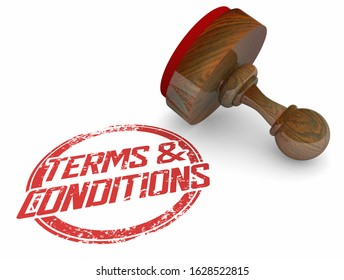 Terms and Conditions Disclaimer Stamp Legal Agreement 3d Illustration