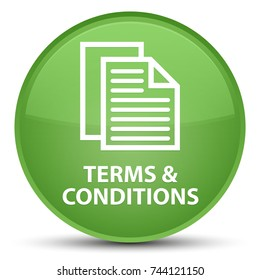 Terms and conditions (pages icon) isolated on special soft green round button abstract illustration