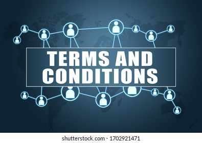 Terms and Conditions - text concept on blue background with world map and social icons.