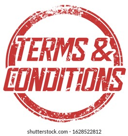 Terms and Conditions Ts Cs Legal Language Requirements Rules Round Stamp Illustration